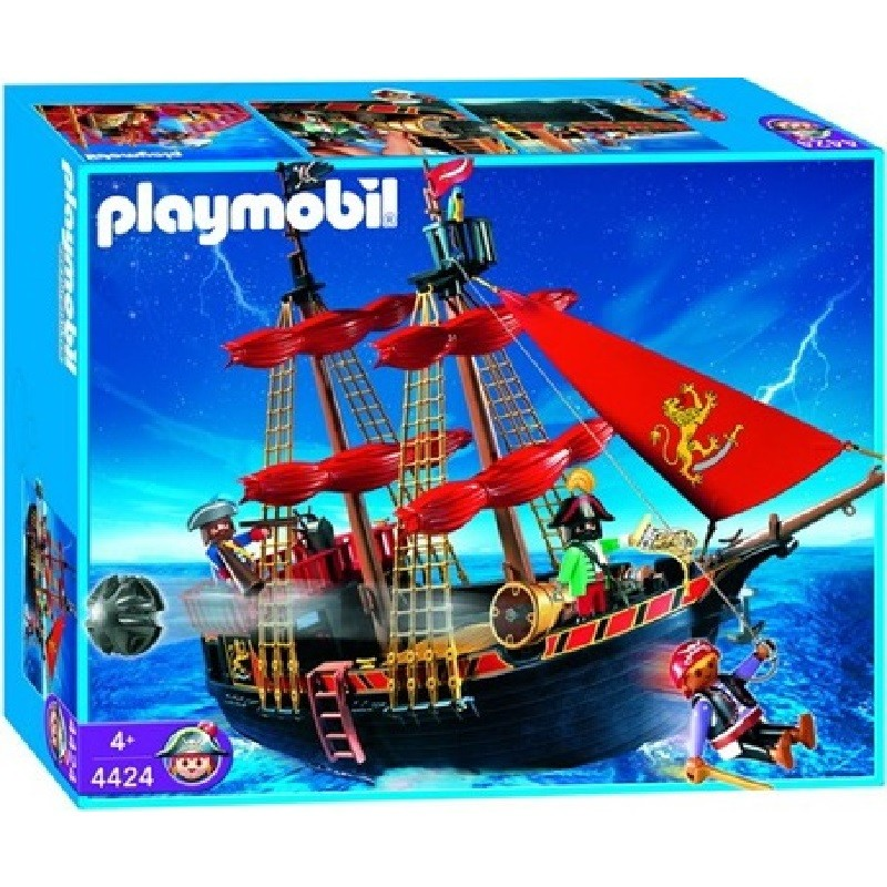 Playmobil 4424 barco pirata velas rojas for Barco pirata playmobil