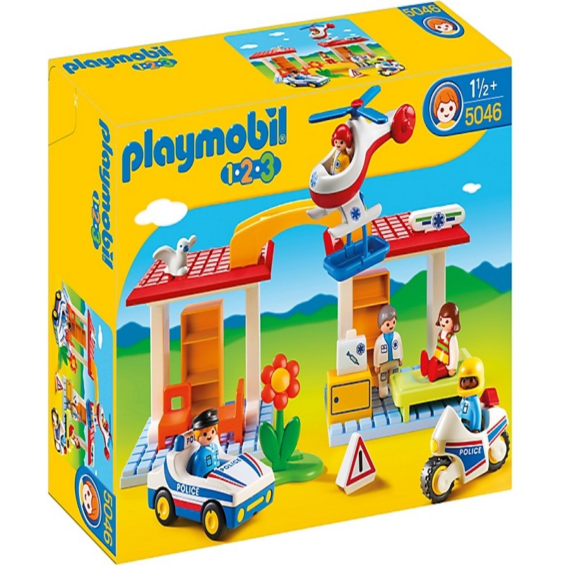 Playmobil 5046 1 2 3 malet n hospital con polic a y for Helicoptero playmobil