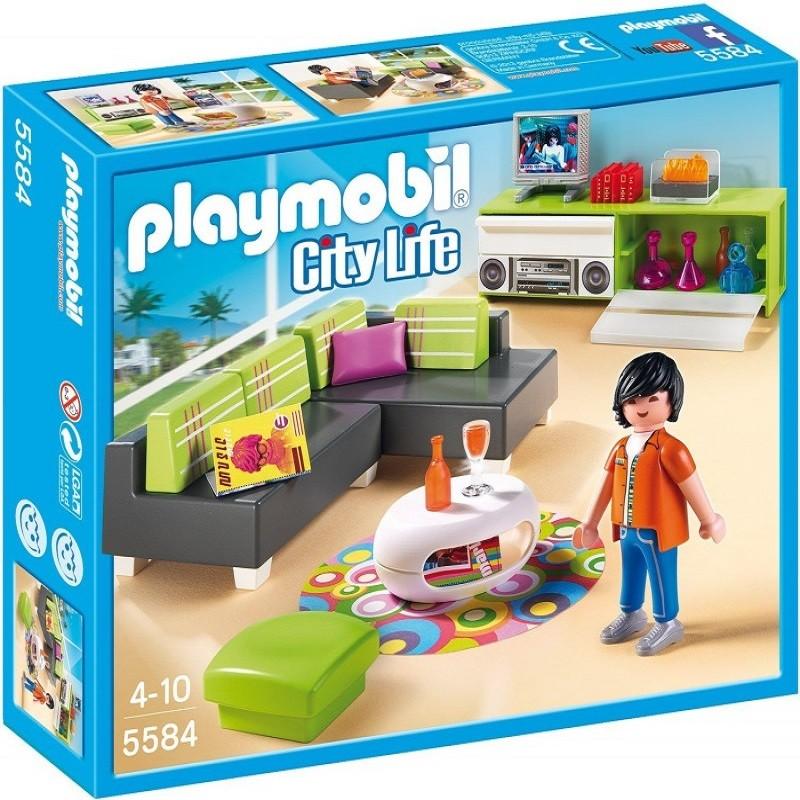Playmobil 5584 sala de estar moderna villa de lujo for Casa moderna de lujo playmobil